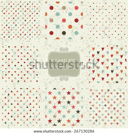 set of 8 seamless colorful doodle pattern on shabby background  - stock vector