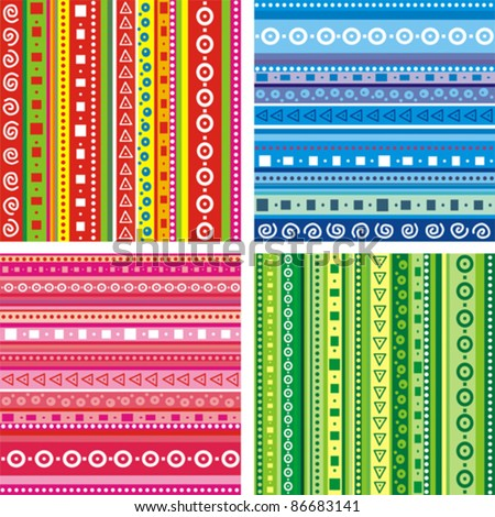 Set of Seamless colorful patterns. Strips abstract background. Vector illustration. - stock vector
