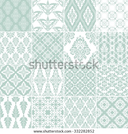 Set of 16 seamless damask patterns. Classic blue wallpapers. Vintage vector backgrounds. - stock vector