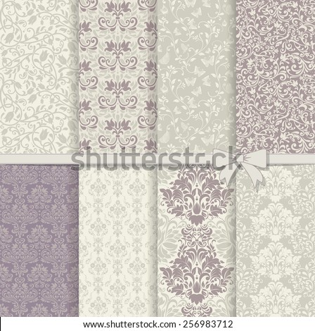 set of seamless damask patterns in violet and grey - stock vector