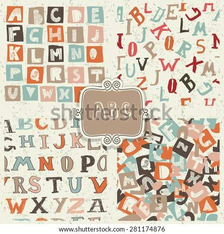 set of seamless doodle alphabet on shabby background - stock vector