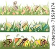 Set of seamless easter borders with grass and eggs - stock vector