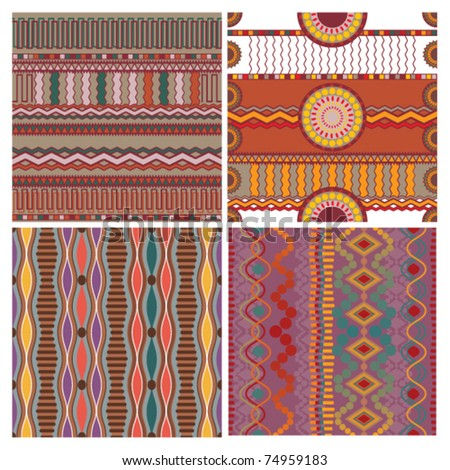set of seamless ethnic background - stock vector