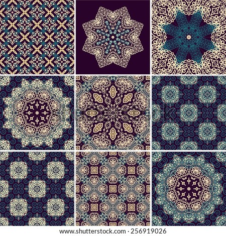 Set of seamless ethnic patterns - stock vector