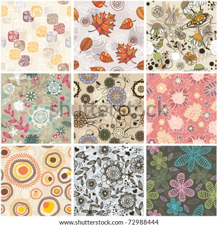 set of seamless floral background - stock vector
