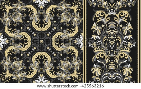 Set of seamless floral pattern and wide border for design. Hand draw vector Illustration. Seamless background with flowers. Gold gray white tone on black