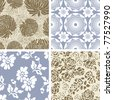 Set of 4 Seamless Floral  Pattern Tiles - stock photo