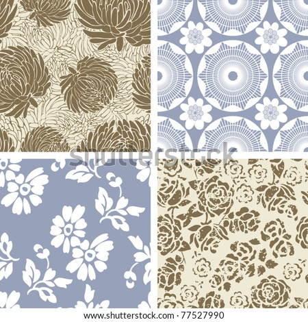 Set of 4 Seamless Floral  Pattern Tiles - stock vector