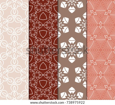 Set Seamless Floral Pattern Geometric Texture Stock Vector 738975922