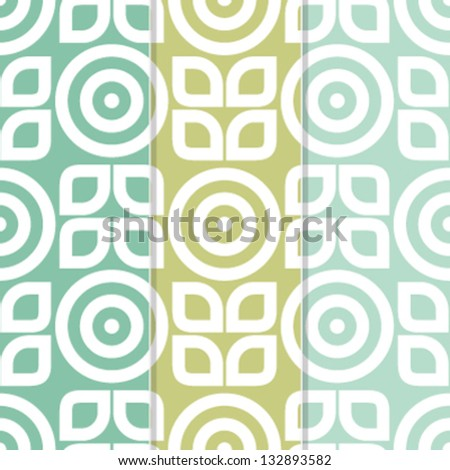 Set of 3 Seamless Flower and Leaves Background Patterns - stock vector