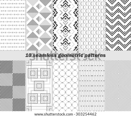 Set of 10 seamless geometric black and white patterns. Vector illustration for various creative projects - stock vector