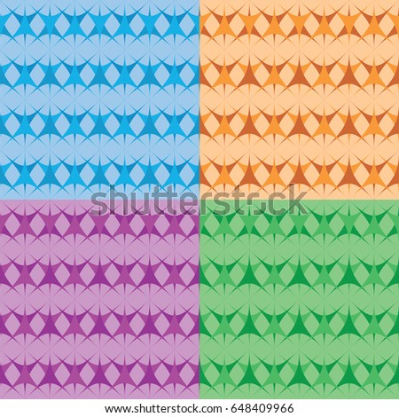 Set of seamless geometric blue, brown, lilac, green backgrounds.