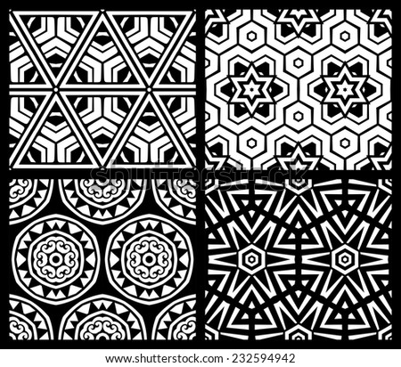 Set of seamless geometric patterns. Black and white backgrounds. Geometric elements.  - stock vector