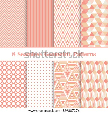 Set of 8 seamless geometric patterns.Color abstract backgrounds. Bright vector ornaments. - stock vector