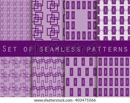 Set of seamless geometric patterns. The pattern for wallpaper, tiles, fabrics and designs. Vector illustration.