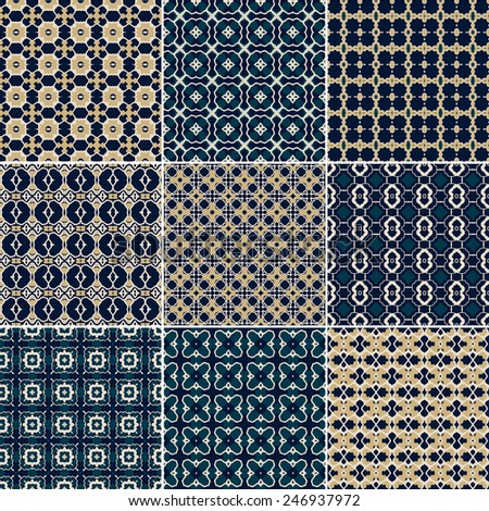 Set of 9 seamless geometric patterns. Vector Illustration - stock vector