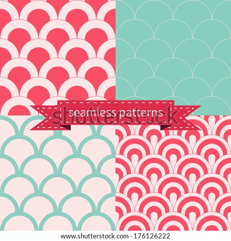 Set of seamless geometric vector patterns. - stock vector