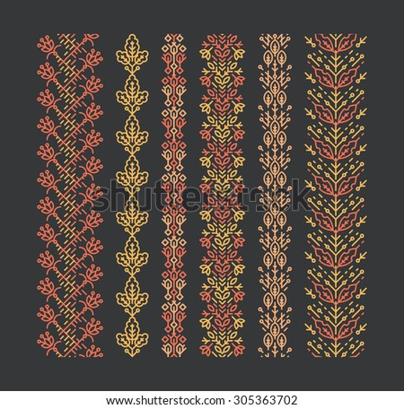 Set of seamless geometrical floral ornaments, decorative brushes, trendy mono line style, colorful empty outline patterns.  - stock vector
