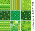 Set of seamless green patterns. Vector Illustration - stock vector