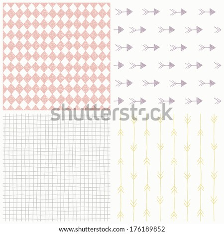 Set of seamless hand drawn patterns. Vector - stock vector