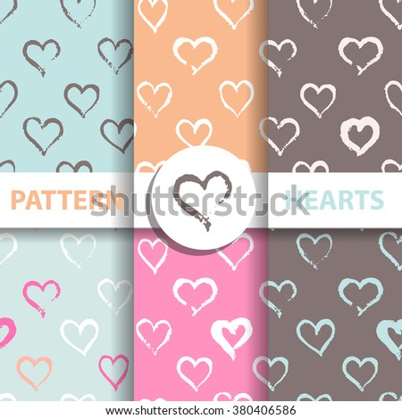 Set of seamless hearts patterns