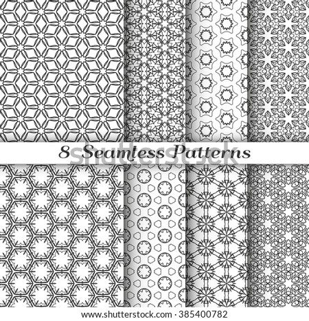 Set of 8 Seamless islamic patterns in arabian style. Stylish graphic monochrome geometric backgrounds collection, line art. Tribal ethnic ornament, vector collection. Gray, black and white