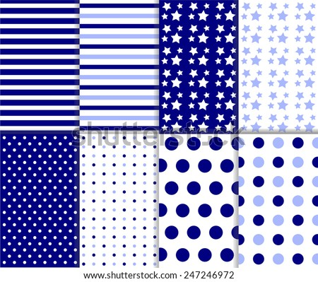 Set of seamless jumbo and small polka dot and stripes pattern in light and dark blue and white color. For abstract wallpaper decoration or scrapbook. Vector art image background lines, dotted, stars - stock vector