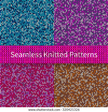 Set of seamless knitted sweater patterns. Christmas and New Year holidays abstract backgrounds. Vector illustration EPS10 - stock vector