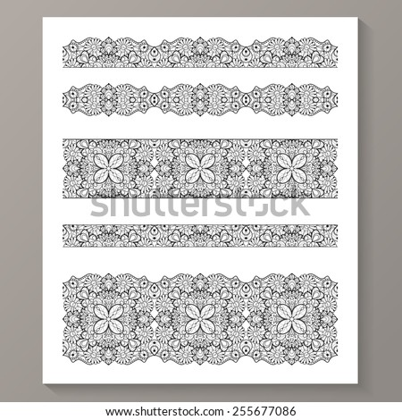 Set of seamless lace borders with transparent background, can be placed on any background you like. Tileable lace ribbons, can be infinitely repeated to suit your design needs.  Eps10 vector. - stock vector