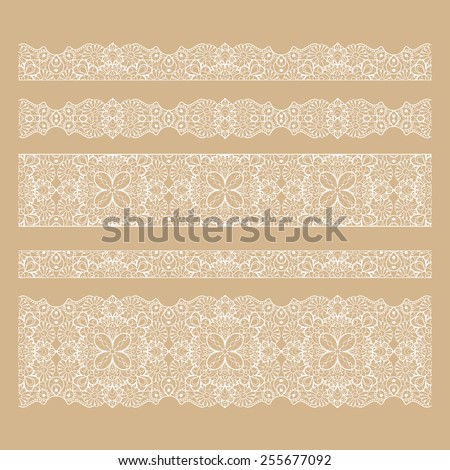 Set of seamless lace borders with transparent background, can be placed on any background you like. Tileable lace ribbons, can be infinitely repeated to suit your design needs.  - stock vector