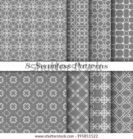 Set of 8 Seamless linear patterns with thin lines. Stylish graphic monochrome geometric backgrounds collection, line art. Tribal ethnic arabic, indian ornament, vector collection. Gray and white