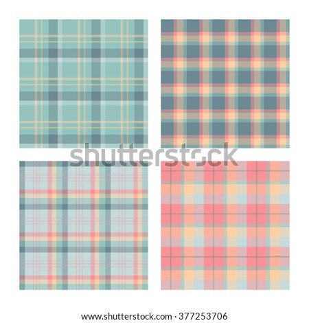 Set of seamless lumberjack plaid patterns, tartan vector patterned texture. For design, background, backdrop, textile, card, fabric, cloth,  decoration, wrapping paper. Blue, pink and green. - stock vector