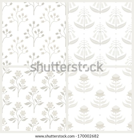 Set of seamless monochrome patterns with Australian flora. EPS 8 vector illustration. Contains no transparency and blending modes. - stock vector