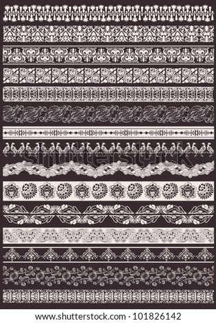 Set Of Seamless Ornate Element Border - stock vector