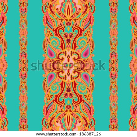 Set of seamless paisley borders - stock vector