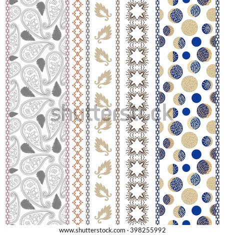 Set of seamless paisley borders with bohemian motifs. Hand drawn paisley pattern, leaves, damask borders, crescent moon drawings. Ethnic textile collection. Golden, silver shadows on white.   - stock vector