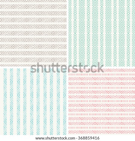 Set of seamless pattern. Geometric repeating patern background. Vector background image.