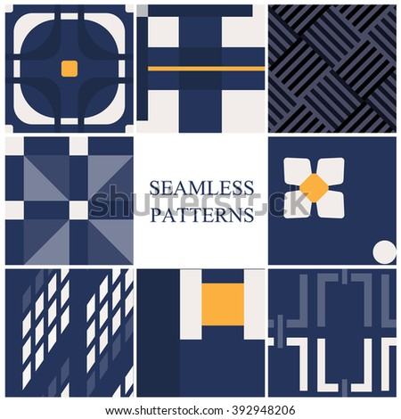 Set of seamless pattern in retro style - stock vector