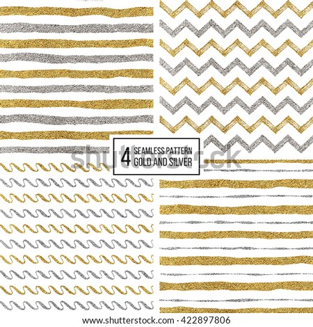 Set of seamless pattern of gold and silver stripes, zigzag chevron, wavy stripe, texture golden and silvern lines, wave, zig zag stripe, hand drawn vector pattern for textile, wallpaper, web, wrapping - stock vector