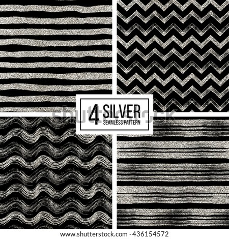 Set of seamless pattern of silver glitter stripes, zigzag chevron, wavy stripe, seamless texture silvery lines, wave, zig zag stripe, hand drawn vector pattern for paper, card, invitation, wedding - stock vector