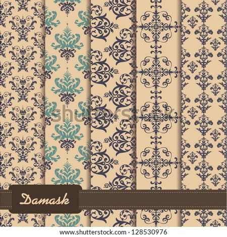set of seamless pattern on damask theme - stock vector