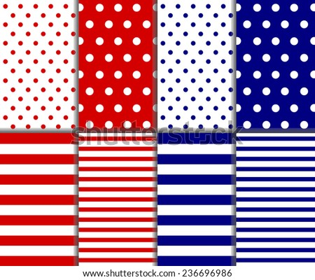 Set of seamless pattern - red, white and blue. Big and small polka dots, lined textile with large and small lines and stripes design. Perfect as 4th of july or nautical background. vector illustration - stock vector