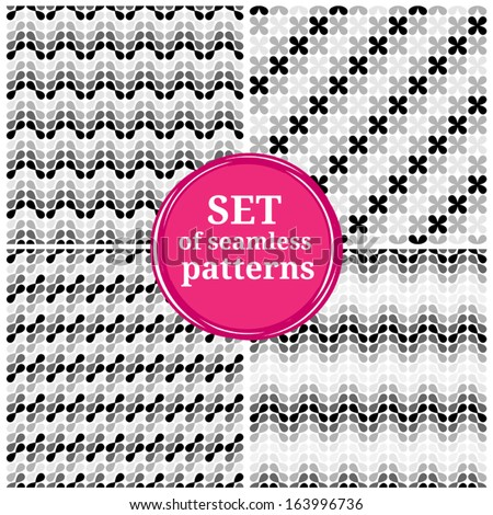 Set of seamless patterns. Abstract backgrounds. - stock vector