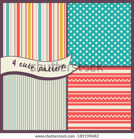 Set of seamless patterns. Background with stripes, polka dots and zig zag.
