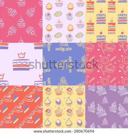 Set of seamless patterns, cakes, sweets, cupcakes. Pink, purple, peach. The pattern for wallpaper, texture, paper, web design, wrapping paper.Advertising sweets and confectionery. - stock vector