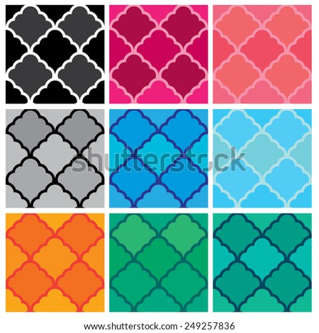 Set of seamless patterns. Classical ornaments in different colors. Geometric stylish background. Repeating texture, ready to use as swatches. - stock vector