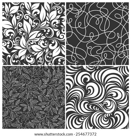 set of seamless patterns - grass, leaves, swirls on a dark background - stock vector