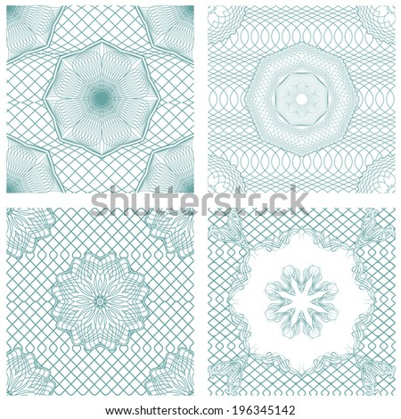 Set of seamless patterns - Guilloche ornamental Elements for Certificate, Money, Diploma, Voucher, decorative round frames.  Vintage backgrounds. Ready to use as swatch - stock vector