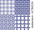 Set of 4 seamless patterns. Illustration, vector - stock vector