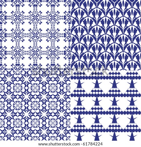 Set of 4 seamless patterns. Illustration, vector - stock vector